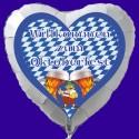 Herzuftballon Oktoberfest, Deko-Folienballon mit Ballongas, Herzlich Willkommen!
