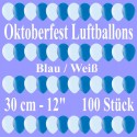 Oktoberfest Luftballons, Latex 30 cm Ø, 100 Stück / 50 weiße und 50 blaue Ballons