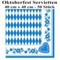 Oktoberfest Servietten, Bayrisches Muster, 50 Stück