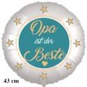 Opa ist der Beste. Satinweißer Luftballon aus Folie ohne Helium