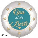 Opa ist der Beste. Satinweißer Luftballon aus Folie, 43 cm, mit Ballongas-Helium