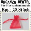 Organza-Beutel Rot für Hochzeitsmandeln, 25 Stück