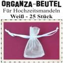 Organza-Beutel Weiß für Hochzeitsmandeln, 25 Stück