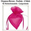 Organza-Herzen Fuchsia für Hochzeitsmandeln und Gastgeschenke, 4 Stück