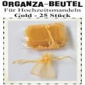 Organza-Beutel Gold für Hochzeitsmandeln, 25 Stück