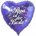 Papa ist der Beste! Herzluftballon, blau, 45 cm, aus Folie zum  Vatertag mit Ballongas-Helium