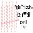 Papier-Trinkhalme Rosa-Weiß gestreift, 10 Stück