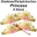 Princess for a Day Partykrönchen, Diademe zum Prinzessinnen Kindergeburtstag, 8 Stück