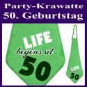Party-Krawatte zum 50. Geburtstag, life begins at 50, Grün