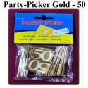 Party-Picker Gold, Zahl 50, 50 Stück, Dekoration Goldene Hochzeit und 50. Jubiläum
