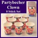 Partybecher Clown, 6 Stück