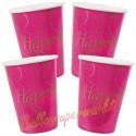 Partybecher Happy, pink, 10 Stück