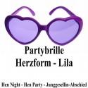 Lila Partybrille - Herzen, Hen Party, Junggesellinnenabschied