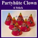 Partyhüte Clown, 6 Stück