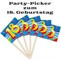 Party Picker Zahl 18, Dekoration zum 18. Geburtstag