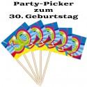 Party Picker Zahl 30, Dekoration zum 30. Geburtstag