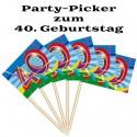Party Picker Zahl 40, Dekoration zum 40. Geburtstag