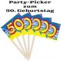 Party Picker Zahl 50, Dekoration zum 50. Geburtstag