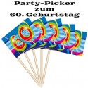 Party Picker Zahl 60, Dekoration zum 60. Geburtstag