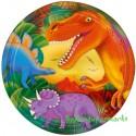 Dinosaurier Partyteller mit Metallic-Effekt, 8 Stück