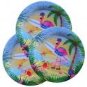 Flamingo Partyteller, Mottoparty Hawaii, 8 Stück