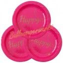 Partyteller Happy, pink, 10 Stück