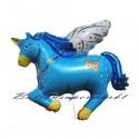Luftballon Pegasus, Einhorn, Blau, Folienballon mit Ballongas