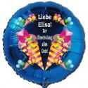 Zur Einschulung alles Gute! Personalisierter Luftballon aus Folie, Blau, mit Namen der Schülerin oder des Schülers, inklusive Helium-Ballongas