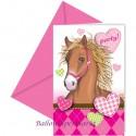 Pferde, Einladungskarten zum Kindergeburtstag, 6 Stück