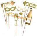 Goldene Photo Props, Party, Foto Requisiten, 8 Stück, Dekoration zu Geburtstag, Party, Silvester