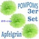Pompoms, Apfelgrün, 25 cm, 3er Set