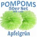 Pompoms, Apfelgrün, 25 cm, 50er Set