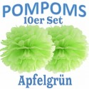 Pompoms, Apfelgrün, 35 cm, 10er Set