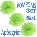Pompoms, Apfelgrün, 35 cm, 3er Set