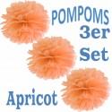 Pompoms, Apricot, 35 cm, 3er Set