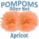 Pompoms, Apricot, 35 cm, 50er Set