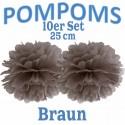 Pompoms, Braun, 25 cm, 10er Set