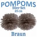 Pompoms, Braun, 25 cm, 50er Set