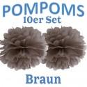 Pompoms, Braun, 35 cm, 10er Set