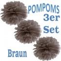 Pompoms, Braun, 35 cm, 3er Set