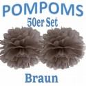 Pompoms, Braun, 35 cm, 50er Set