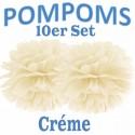 Pompoms, Créme, 35 cm, 10er Set