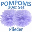 Pompoms, Flieder, 35 cm, 50er Set