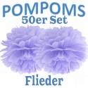 Pompoms, Flieder, 35 cm, 50er Set