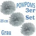 Pompoms, Grau, 25 cm, 3er Set