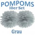 Pompoms, Grau, 35 cm, 10er Set