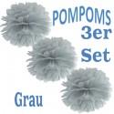 Pompoms, Grau, 35 cm, 3er Set