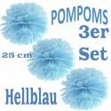 Pompoms, Hellblau, 25 cm, 3er Set