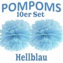 Pompoms, Hellblau, 35 cm, 10er Set