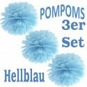 Pompoms, Hellblau, 35 cm, 3er Set